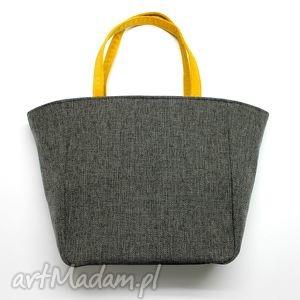 shopper bag worek - tkanina dark grey i żółty, elegancka, nowoczesna, prezent