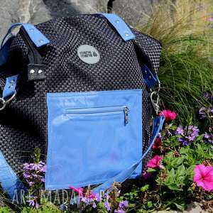 torba worek z plecionki niebieskimi dodatkami pocket, torebka-damska