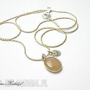 nitka silver gold sunstone - naszyjnik - srebro, pozłacane, delikatny
