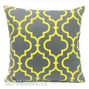 poduszka fresh yellow-grey 50x50cm, koniczyna, dekoracyjna