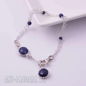 Bransoletka lapis lazuli monle bransoletka, delikatna, srebrna,
