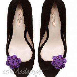 violet - klipsy do butów, filc, klipsy, spinki, ozdoby, buty