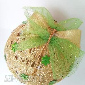 Kordonkowa bombka - złoto i zieleń - Hand-Made