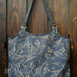 na ramię torba - złote liście, torba, shopperka, wodoodporna