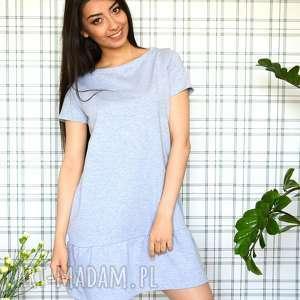 sukienki sukienka z falbaną s/m/l/xl szary melanż, eko, dzianina, falbanka, lekka