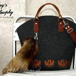 ręcznie robione torebki shopper bag w stylu folk z kitą