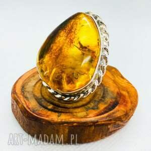 unikatowy srebrny pierścionek z bursztynem srebro
