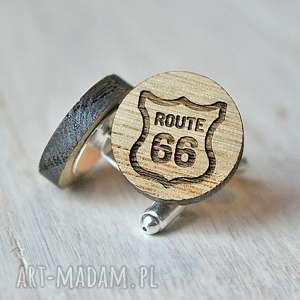 dębowe spinki do mankietów road 66, spinki, drewniane, road66, us