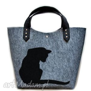 pomysł na upominek Filcowa torba KOTEK, filc, torebka, kot, prezent, święta