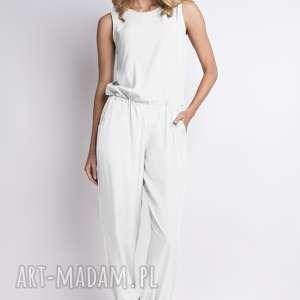 Zwiewny kombinezon, kb101 ecru spodnie lanti urban fashion