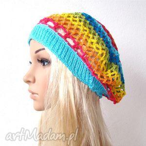 wiosenny kolorowy ażurowy beret, bawełniany - beret, czapka, ażur, bawełna