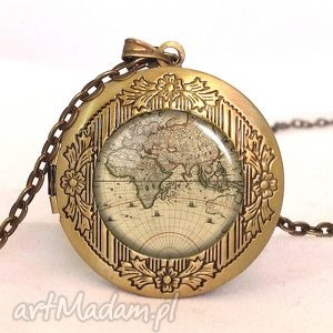 hand made naszyjniki mapa świata - sekretnik z łańcuszkiem