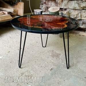okrągły stolik kawowy z żywicą 6, platan, żywica, stolik, połysk, drewno