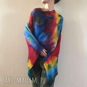 kolorowe wełniane ponczo, sweter, tunika, wełniana, luźna, one size