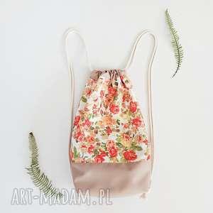 plecak worek kwiaty - ,plecak,worek,kwiaty,vintage,łąka,lato,