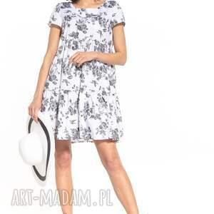 sukienka mini z dwoma falbanami i krótkim rękawem, t343, szare kwiaty