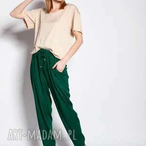 luźne spodnie - zielony, do pracy, szkoły, zielone, wiskoza, eleganckie