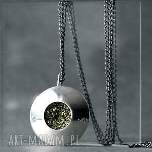 ręczne wykonanie wisiorki srebrny duży wisior z pirytem, wisiorek