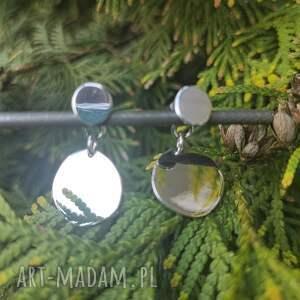 srebrne podwójne kolczyki, surowy, minimalistyczny, prosty, srebro 925, koło
