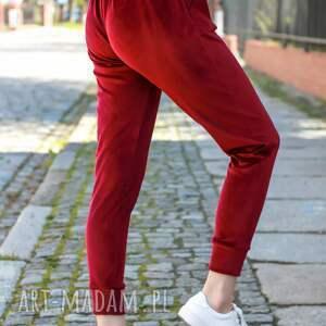 handmade spodnie welurowe dresowe do bluzy welurowej kolor bordo lona