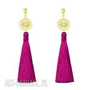 długie kolczyki z chwostem - amarant - boho - różowe kolczyki