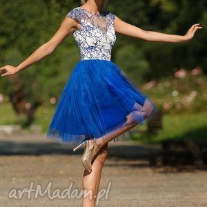 sukienka tiulowa z haftowaną koronką nb, sukienka, wieczorowa, wesele, studniowka