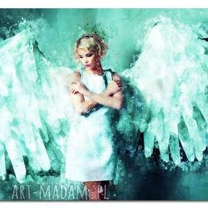obraz anioł 1 turkus - 120x70cm na płotnie kobieta modern