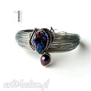 arachne - morpho - bransoleta z kwarcem tytanowym i - wire wrapping, perła