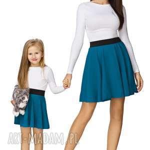 hand-made spódnice komplet dla mamy i córki - spódnica z koła na gumie, morski