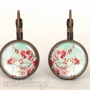 retro kwiaty - małe kolczyki wiszące, prezent, vintage