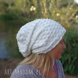 czapka damska biała handmade, czapka, biała, ciepła, codzinna, damska, ludowa