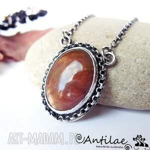 dzuwa - kamień słoneczny, srebro, naszyjnik - sunstone, srebro