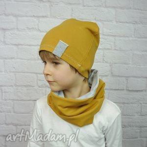 cienka czapka i komin dla chłopca - chłopiec bawełna, prezent