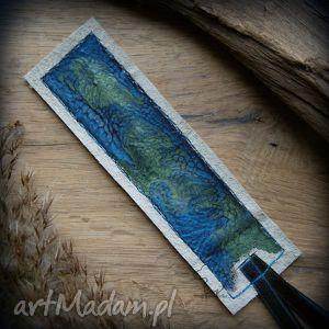 Skórzana malowana zakładka do książki Ocean, zakłądka, skórzana, skóra, morze, ocean