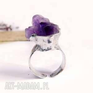 bryłka ametystu - pierścionek regulowany, ametyst, regulowany