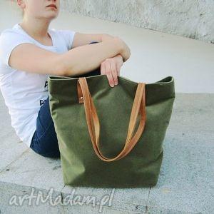 torebki shopper bag, szyte, shopper, klasycznie, zielona, modna, unikalny prezent