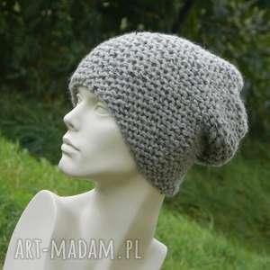handmade czapki tweed szary - na prawo * zimowa czapa