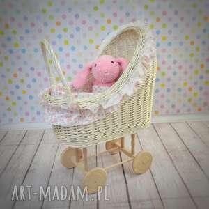 wiklinowny wózek dla lalek retro - wózek, lalki, prezent, wiklina, wózeczek