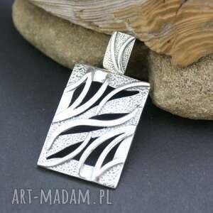 Wisiorek srebrny - zawieszka, wisiorek, srebrna, prostokąt, ażurowa