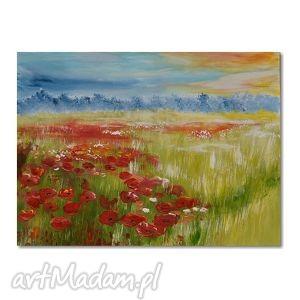 ręczne wykonanie obrazy letnia łąka, obraz ręcznie malowany