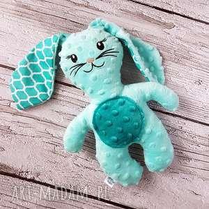 miętowy królik - maskotka przytulanka, królik, maskotka, minky, dziecko