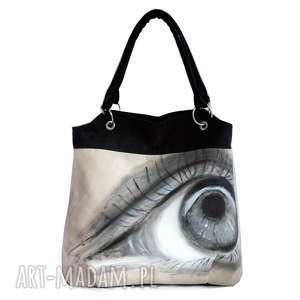 Oko za oko, torebka, alkantara, oryginalna, malowana, duża