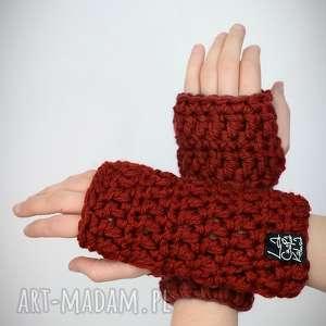 rękawiczki 25 - rdzawe, mitenki, rekawiczki, prezent, upominek, zestaw, komplet