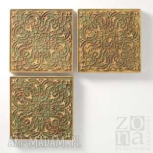 hand-made ceramika dekory zielono-brązowo-beżowe, 3 sztuki