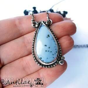 Pintio - Opal błękitny, srebro, opal, naszyjnik