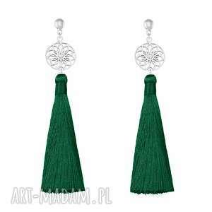 lavoga długie kolczyki z chwostem - butelkowa zieleń - boho zielone kolczyki