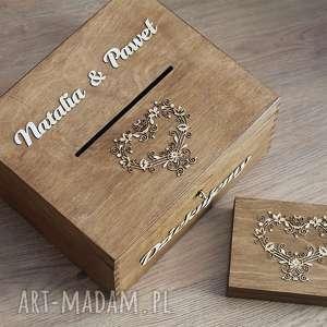 albumy zestaw pudełek - koronkowe serca, pudełko, drewno, koperty, obrączki