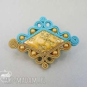 S044/mela~ broszka sutasz turkusowo złota 6x4,5 cm, broszka, sutasz, soutache