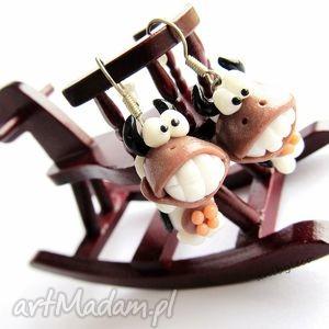 handmade kolczyki kolczyki krówka uśmiecha się