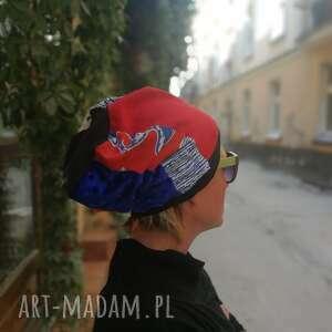 Czapka damska patchworkowa na podszewce czapki ruda klara czapka